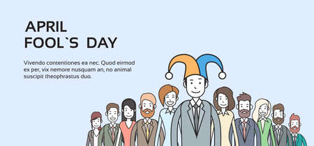 fool: Business People Group Wear Jester Hat, Fool Day April Holiday Banner Copy Space Vector Illustration