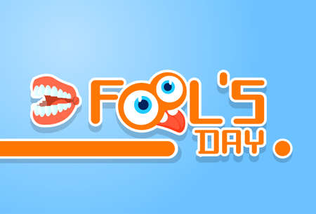 crazy face: Crazy Face Show Tongue Store Teeth First April Fool Day Happy Holiday Flat Vector Illustration Illustration