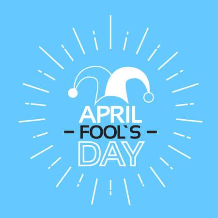 Jester Fool Abril Día de tarjeta de felicitación de la ilustración de la bandera delgada línea vector Ilustración de vector