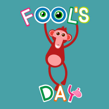 fool: Monkey Hang On Letters Fool Day April Holiday Greeting Card Banner Flat Vector Illustration