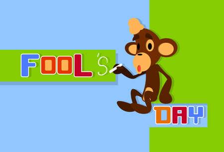 pixeled: Monkey Holding Chalk Write Fool Day April Holiday Greeting Card Banner Flat Vector Illustration Illustration
