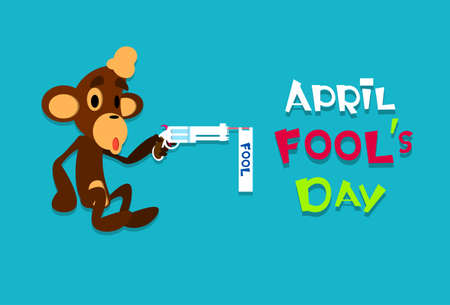 fool: Monkey Holding Gun Pistol Fool Day April Holiday Greeting Card Banner Flat Vector Illustration