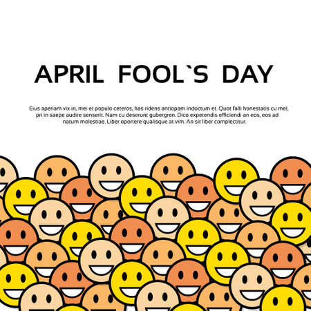 fool: Smile Yellow Faces Fool Day April Holiday Greeting Card Copy Space Banner Vector Illustration Illustration