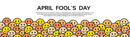 Smile Yellow Faces Fool Day April Holiday Greeting Card Copy Space Banner Vector Illustration Illustration