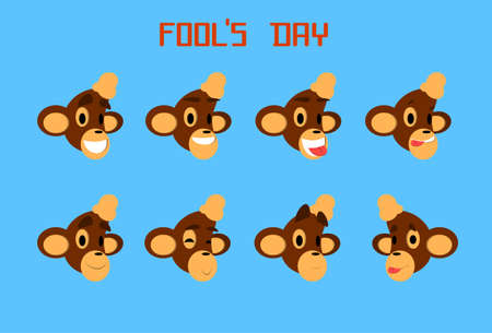 Monkey Face Set Emotion Fool Day April Holiday Collection Flat Vector Illustration Illustration