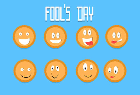 foolish: Smile Cracker Cookies Cartoon Faces Set Fool Day April Holiday Collection Flat Vector Illustration