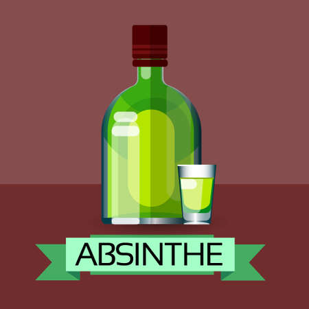 ajenjo: Absinthe Bottle Alcohol Drink Icon Flat Vector Illustration