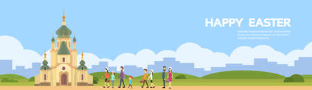 chapel: People Group Go To Church Chapel Building Happy Easter Holiday Copy Space Flat Vector Illustration Illustration