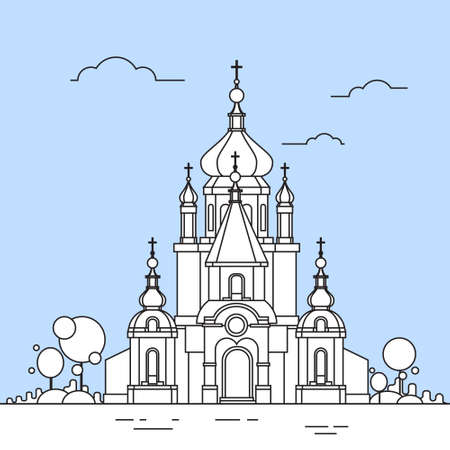 steeple: Church Chapel Building View Icon Thin Line Vector Illustration