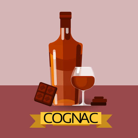 cognac: Cognac Bottle With Chocolate Alcohol Drink Icon Flat Vector Illustration Illustration