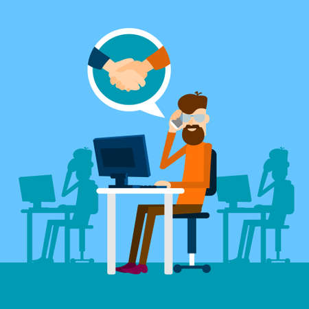 casual business man: Casual Business Man Agreement On Phone Sit In Office Speak Success Conversation Handshake Icon Flat Vector Illustration