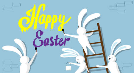 cartoon painter: Rabbit Group Standing On Step Ladder Hold Brush Paint Happy Easter On Wall Holiday Banner Greeting Card Vector Illustration