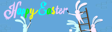 step ladder: Rabbit Group Standing On Step Ladder Hold Brush Paint Happy Easter Wall Holiday Banner Greeting Card Vector Illustration