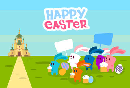 easter rabbit: Group Rabbits Hold Placard Eggs Go To Church Happy Easter Holiday Banner Vector Illustration