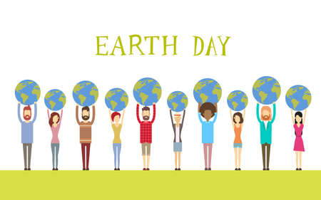 diverse group: Earth Day Diverse People Group Hold Globe World Flat Vector Illustration