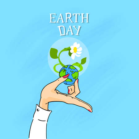 female hands: Earth Day Female Hands Hold Globe With Growing Flower Vector Illustration Illustration