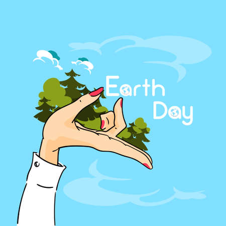 hold: Earth Day Woman Hand Hold Trees Forest Vector Illustration Illustration