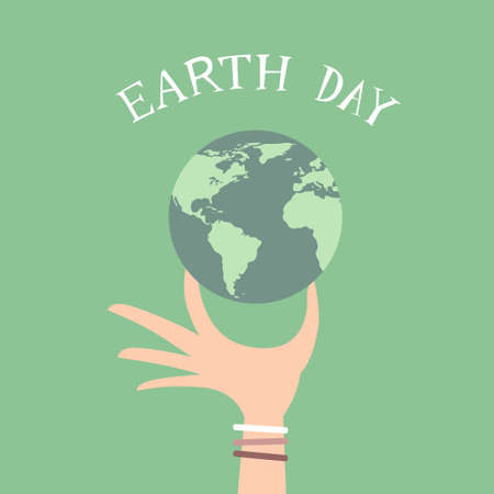 hand hold: Earth Day Man Hand Hold Globe Flat Vector Illustration Illustration