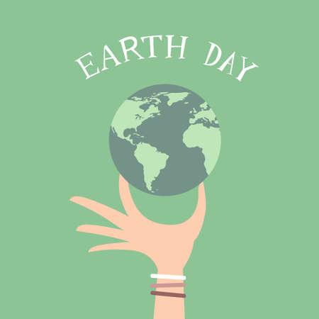 hold: Earth Day Man Hand Hold Globe Flat Vector Illustration Illustration