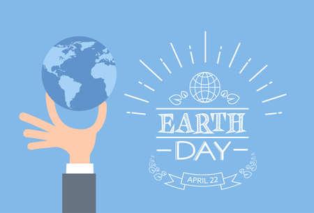 conservacion del agua: D�a de la Tierra del hombre de negocios sostener la mano de la ilustraci�n del globo plana vectorial