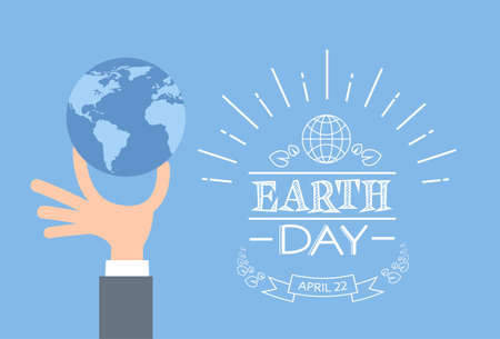 day care: Earth Day Business Man Hand Hold Globe Flat Vector Illustration