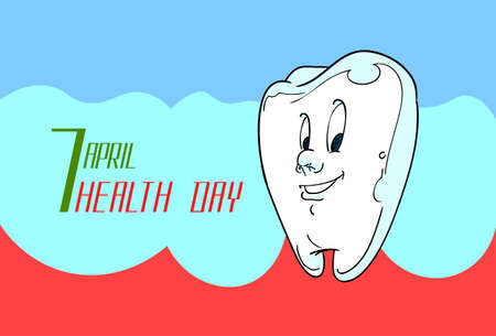 dental health: World Health Day Healthy White Tooth Flat Vector Illustration