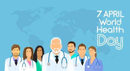 Medical Doctor Team Group Over World Map Background Healthy Day April Holiday Banner Vector Illustration