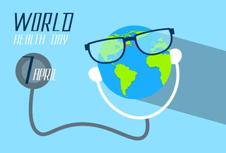 day care: Earth Planet Wearing Glasses Stethoscope Health World Day Green Globe Flat Vector Illustration