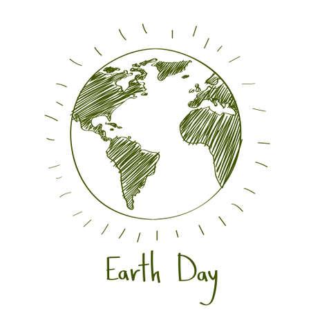 Jour de la Terre verte Sketch Globe de protection écologique Contour Illustration Vecteur