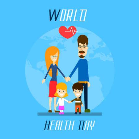 Health Day Family Holding Hands Over World Globe Heart Shape Flat Vector Illustration