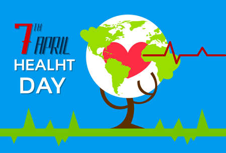 heart health: Health World Day Tree With Globe Red Heart Shape Beat Cardiology Flat Vector Illustration Illustration