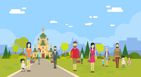 Menschengruppe gehen zur Kirche Kapelle Gebäude Textfreiraum Wohnung Vector Illustration Vektorgrafik