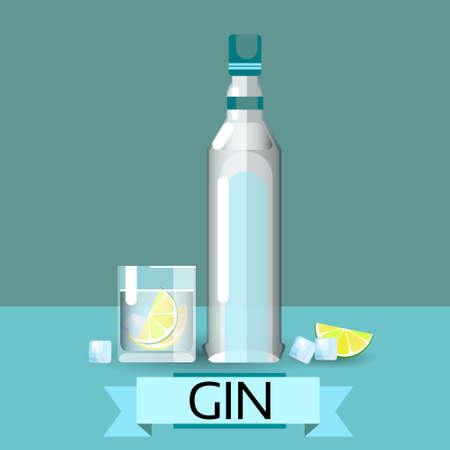 gin: Gin Bottle Glass Lemon Alcohol Drink Icon Flat Vector Illustration