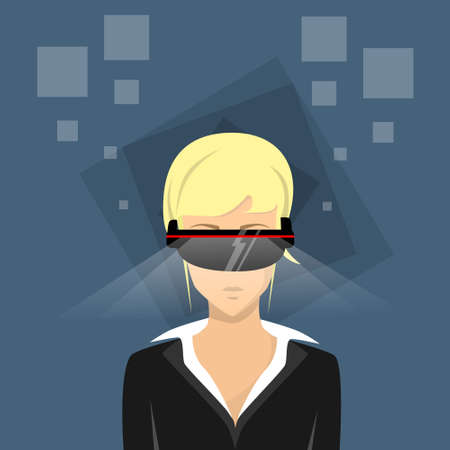 girl wearing glasses: Girl Wear Digital Glasses Virtual Reality Cyber Wearable Technology Flat Vector Illustration