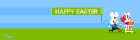 happy couple: Rabbit Bunny Couple Colorful Eggs Happy Easter Holiday Banner Greeting Card Flat Vector Illustration