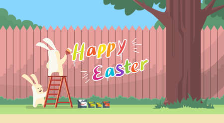 step ladder: Rabbit Group Standing On Step Ladder Hold Brush Paint Happy Easter On Wall Holiday Banner Greeting Card Vector Illustration