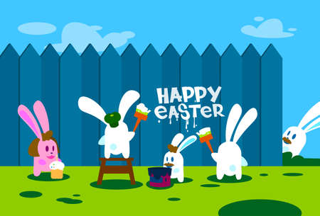 step ladder: Rabbit Group Standing On Step Ladder Hold Brush Paint Happy Easter On Wall Holiday Banner Greeting Card Illustration