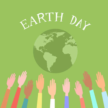 world earth day: People Raised Up Hands World Earth Day Green Globe Vector Illustration