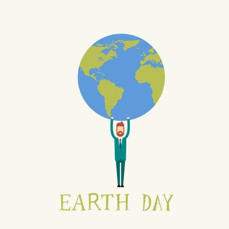 hold: Earth Day Man Hold Globe World Flat Vector Illustration Illustration