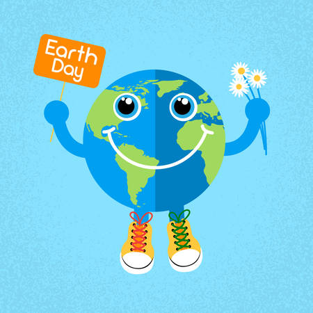 earth day: Earth Day Globe Wear Trainers Shoes Sneakers Hold Banner Flowers World Concept Flat Vector Illustration Illustration