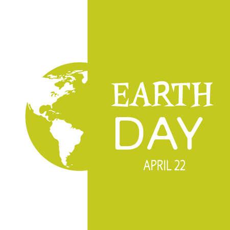 green globe: Earth Day World Green Globe Silhouette Card Background Vector Illustration