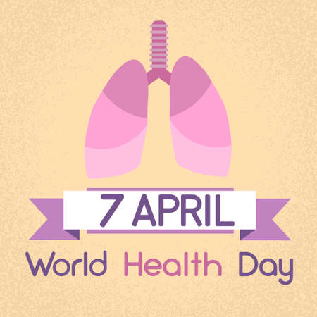 seven persons: Lungs World Health Day 7 April Banner Flat Vector Illustration Illustration