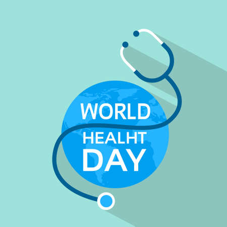 Earth Planet With Stethoscope Health World Day Flat Vector Illustration