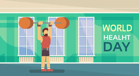 Sport Fitness Man Lifting Barbell Exercise Workout Gym World Health Day 7 April Banner Flat Vector Illustration
