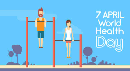 strong chin: Sport Fitness Man Woman Chin Up Bar Exercise Workout World Health Day 7 April Holiday Flat Vector Illustration