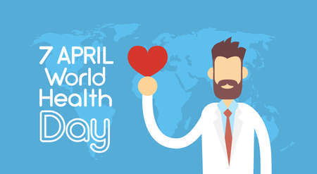 Medical Doctor Hold Red Heart Shape Over World Map Health Day National April Holiday Flat Vector Illustration