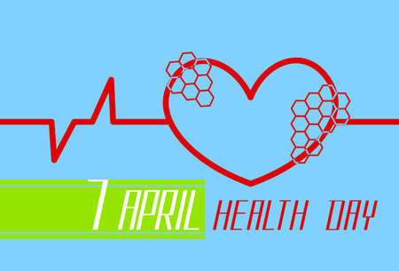 Red Heart Shape With Cardiogram Beat World Health Day Flat Vector Illustration Vetores