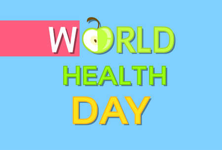 friut: Green Apple Friut World Health Day Flat Vector Illustration