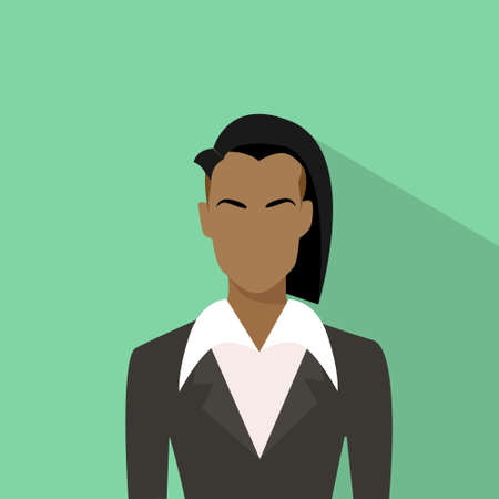 african business: Businesswoman African American Ethnic Profile Icon Avatar Fashion Style Female Portrait Business Woman Flat Vector Illustration