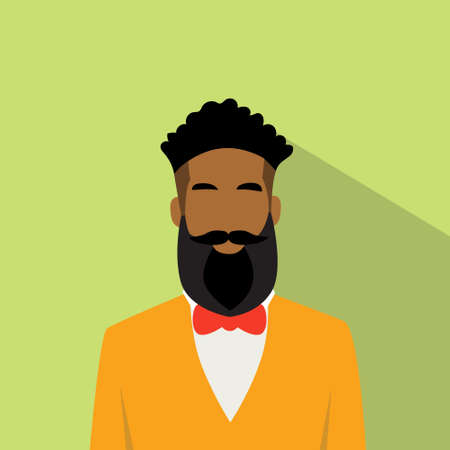 black men: Business Man Profile Icon African American Ethnic Male Avatar Hipster Style Fashion Cartoon Guy Beard Portrait Casual Businessman Person Face Flat Design Vector Illustration